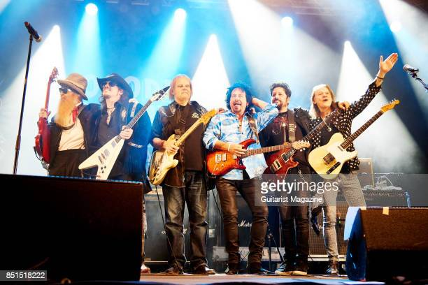 Billy Gibbons Lance Lopez Walter Trout Steve Lukather Doug Rappoport and Robben Ford of blues rock group Supersonic Blues Machine performing live on...