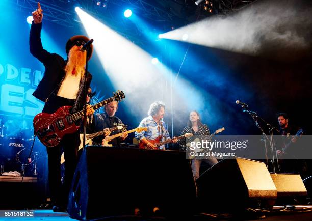 Billy Gibbons Lance Lopez Walter Trout Steve Lukather Robben Ford and Doug Rappoport of blues rock group Supersonic Blues Machine performing live on...