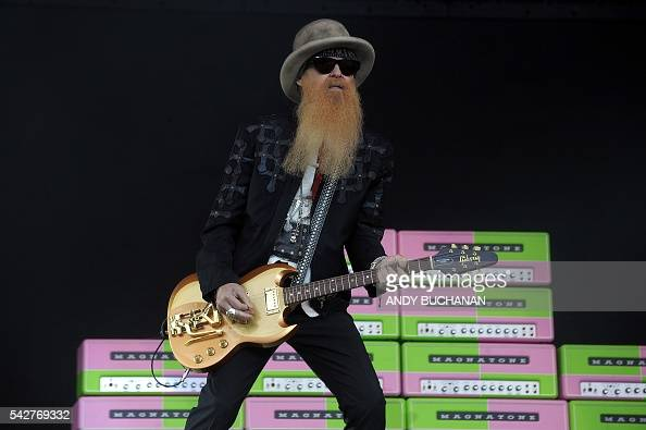 Billy Gibbons of Texan band ZZ Top performs on the Pyramid stage on day three of the Glastonbury Festival of Music and Performing Arts on Worthy Farm...
