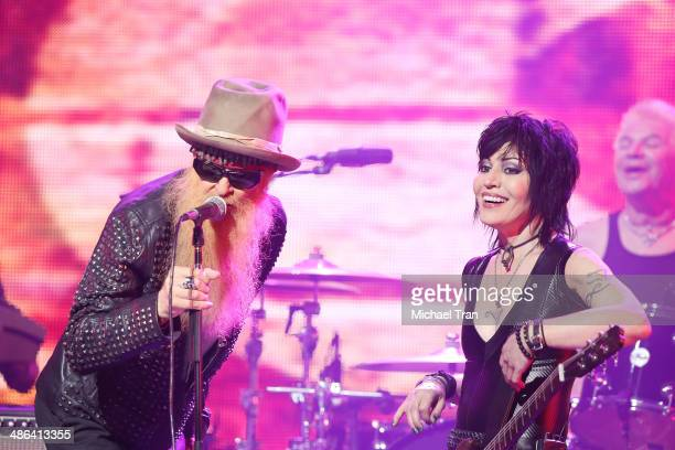 Billy Gibbons of ZZ Top and Joan Jett perform onstage during the 6th Annual Revolver Golden Gods Award Show held at Club Nokia on April 23 2014 in...