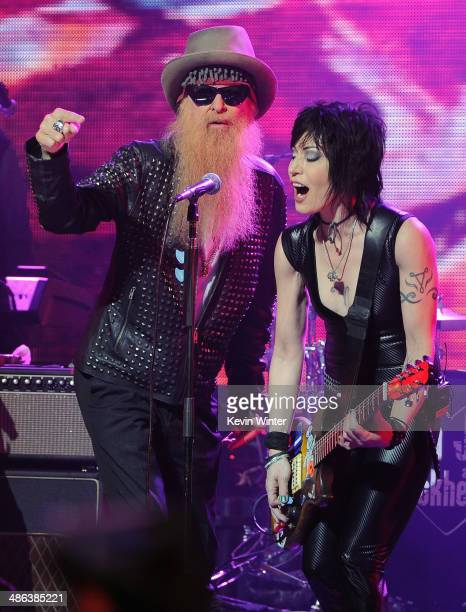 Billy Gibbons of ZZ Top and singer Joan Jett perform onstage at the 2014 Revolver Golden Gods Awards at Club Nokia on April 23 2014 in Los Angeles...