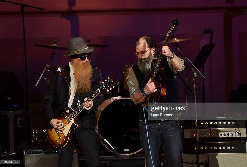 Billy Gibbons of ZZ Top (L) and Steve Earle perform onstage during The Music Of David Byrne & Talking Heads at Carnegie Hall on March 23, 2015 in New York City.