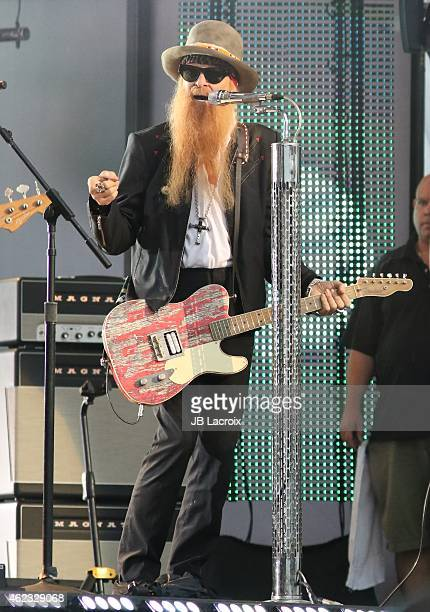 Billy Gibbons of ZZ Top performs during 'Jimmy Kimmel Live' on January 26 2015 in Los Angeles California