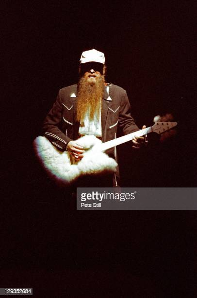 Billy Gibbons of ZZ Top playing the band's trademark revolving 'fluffy' Gibson Explorer guitar on stage at Wembley Arena on October 20th 1986 in...