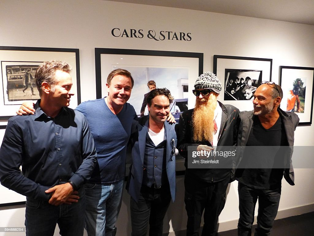 Billy Gibbons of ZZ Top with Spencer Garrett Johnny Galecki and Timothy White at the Sunset Marquis Hotel in Los Angeles California on August 11 2016
