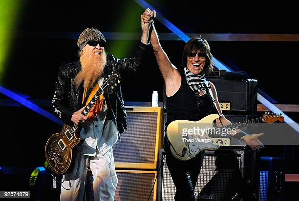 Billy Gibbons performs onstage with Jeff Beck at the 25th Anniversary Rock Roll Hall of Fame Concert at Madison Square Garden on October 30 2009 in...