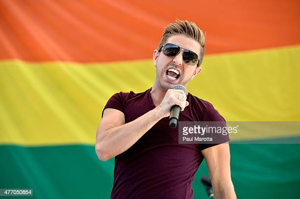 Billy Gilman performs at the 2015 Boston 45th Annual Pride Festival at Boston City Hall Plaza on June 13 2015 in Boston Massachusetts