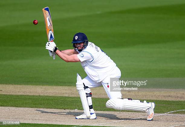 Billy Godleman of Derbyshire bats during day one of the Specsavers County Championship Division Two match between Sussex and Derbyshire at The 1st...