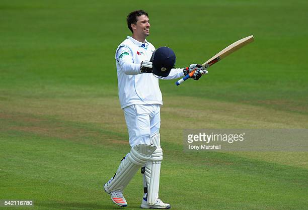 Billy Godleman of Derbyshire celebrates reaching his 200 runs during the Specsavers County Championship Division Two match between Derbyshire and...