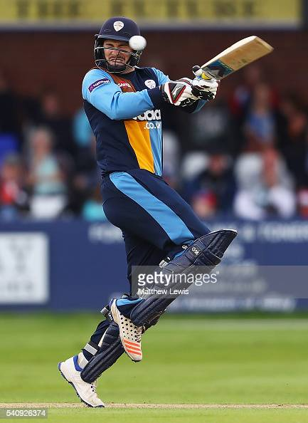 Billy Godleman of Derbyshire is hit by the first ball of the first delivery from Rikki Clarke of Warwickshire during the NatWest T20 Blast match...