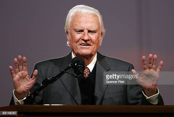 Billy Graham speaks during his Crusade at Flushing Meadows Corona Park June 24 2005 in the Queens borough of New York Flushing Meadows Corona Park is...