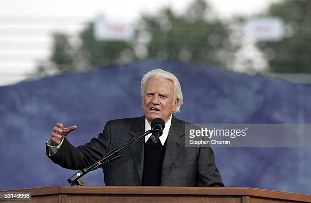Billy Graham speaks during his Crusade at Flushing Meadows Corona Park June 25 2005 in the Queens borough of New York Flushing Meadows Corona Park is...