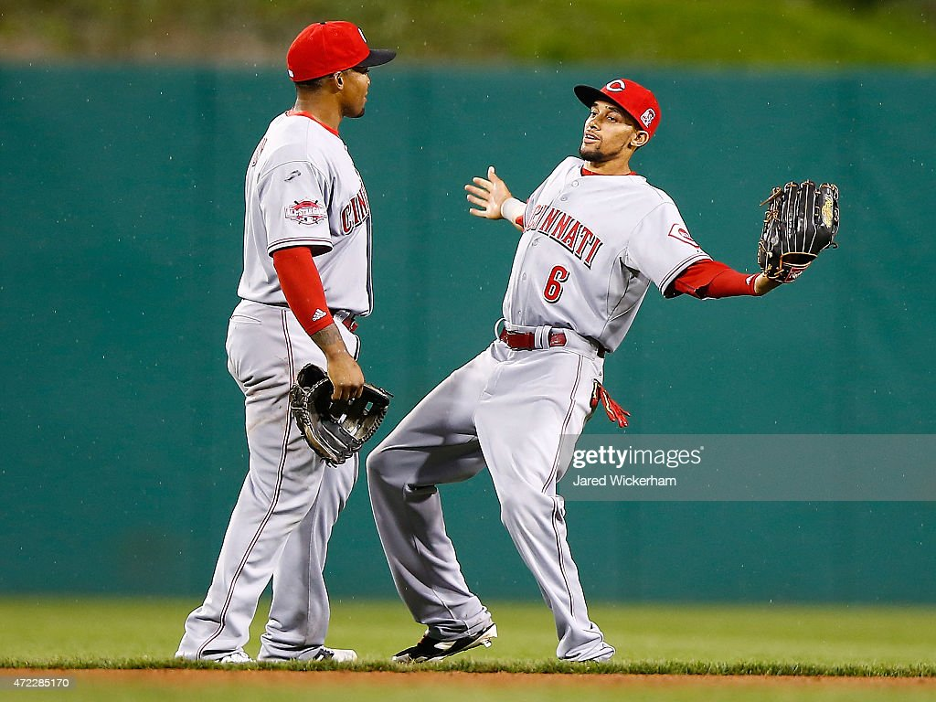 <a gi-track='captionPersonalityLinkClicked' href=/galleries/search?phrase=Billy+Hamilton+-+Baseball+Player&family=editorial&specificpeople=3573622 ng-click='$event.stopPropagation()'>Billy Hamilton</a> #6 and <a gi-track='captionPersonalityLinkClicked' href=/galleries/search?phrase=Marlon+Byrd&family=editorial&specificpeople=217377 ng-click='$event.stopPropagation()'>Marlon Byrd</a> #9 celebrate their win against the Pittsurgh Pirates of the Cincinnati Reds during the game at PNC Park on May 5, 2015 in Pittsburgh, Pennsylvania.