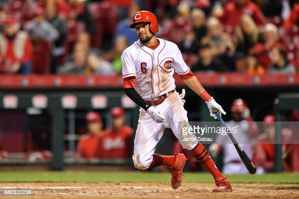 Billy Hamilton of the Cincinnati Reds bats against the San Francisco Giants at Great American Ball Park on May 6 2017 in Cincinnati Ohio