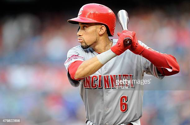 Billy Hamilton of the Cincinnati Reds bats against the Washington Nationals at Nationals Park on July 6 2015 in Washington DC