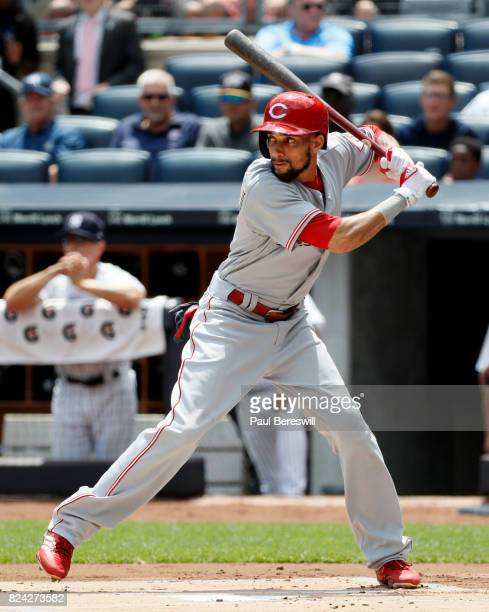 Billy Hamilton of the Cincinnati Reds bats in an interleague MLB baseball game against the New York Yankees on July 26 2017 at Yankee Stadium in the...