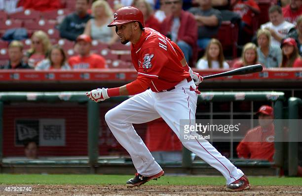 Billy Hamilton of the Cincinnati Reds bats in the seventh inning against the St Louis Cardinals at Great American Ball Park on September 12 2015 in...