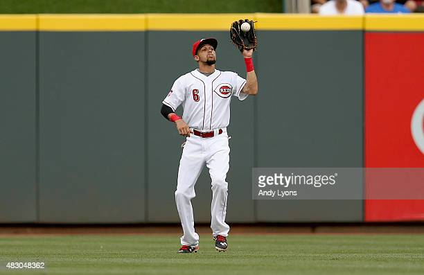 Billy Hamilton of the Cincinnati Reds catches the ball in the first inning against the St Louis Cardinals at Great American Ball Park on August 5...