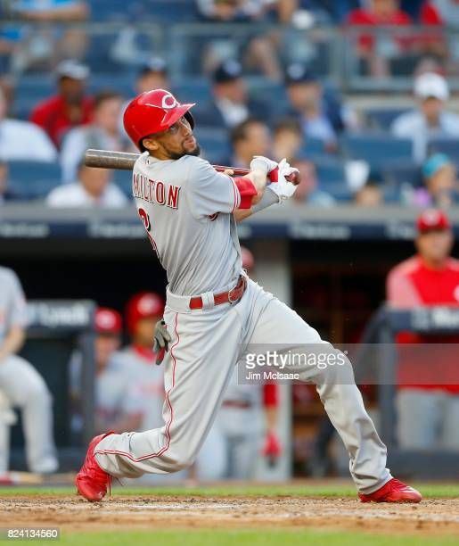 Billy Hamilton of the Cincinnati Reds in action against the New York Yankees at Yankee Stadium on July 25 2017 in the Bronx borough of New York City...