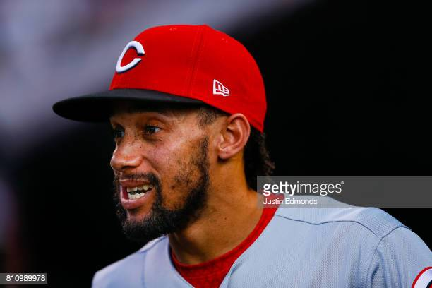 Billy Hamilton of the Cincinnati Reds looks on during the game against the Colorado Rockies at Coors Field on July 5 2017 in Denver Colorado