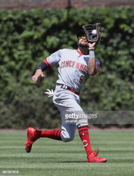 Billy Hamilton of the Cincinnati Reds makes a catch against the Chicago Cubs at Wrigley Field on May 18 2017 in Chicago Illinois The Cubs defeated...
