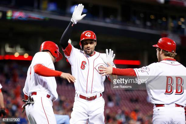 Billy Hamilton of the Cincinnati Reds reacts after hitting a threerun home run in the fourth inning of a game against the Pittsburgh Pirates at Great...