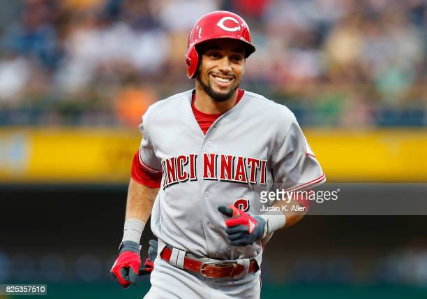 Billy Hamilton of the Cincinnati Reds rounds second after hitting a three run home run in the second inning against the Pittsburgh Pirates at PNC...