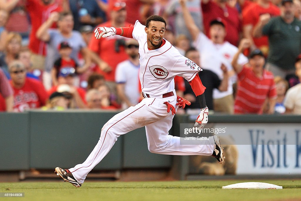 Billy Hamilton #6 of the Cincinnati Reds rounds third base for a triple in the fifth inning against the Chicago Cubs and drive in a run at Great American Ball Park on July 9, 2014 in Cincinnati, Ohio. Cincinnati defeated Chicago 4-1.