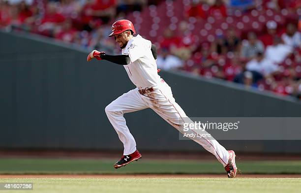 Billy Hamilton of the Cincinnati Reds runs to second base in the first inning against the Chicago Cubs during the second game of a doubleheader at...