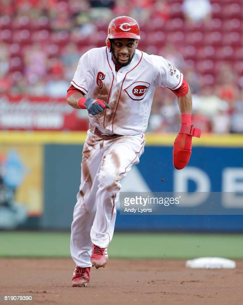 Billy Hamilton of the Cincinnati Reds runs to third base against the Arizona Diamondbacks at Great American Ball Park on July 19 2017 in Cincinnati...