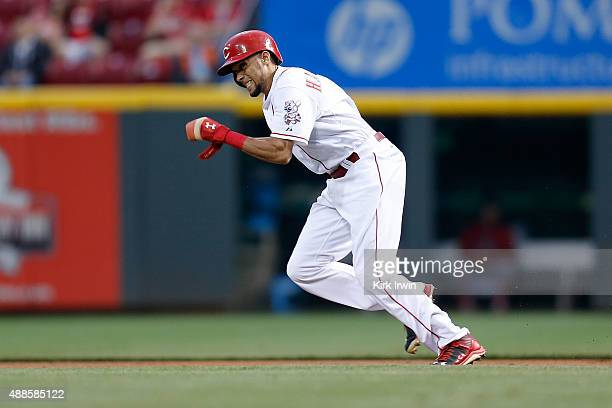 Billy Hamilton of the Cincinnati Reds runs towards second base during the game against the St Louis Cardinals at Great American Ball Park on...