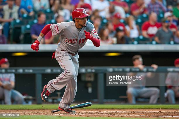 Billy Hamilton of the Cincinnati Reds singles against the Colorado Rockies in the fourth inning of a game at Coors Field on July 25 2015 in Denver...