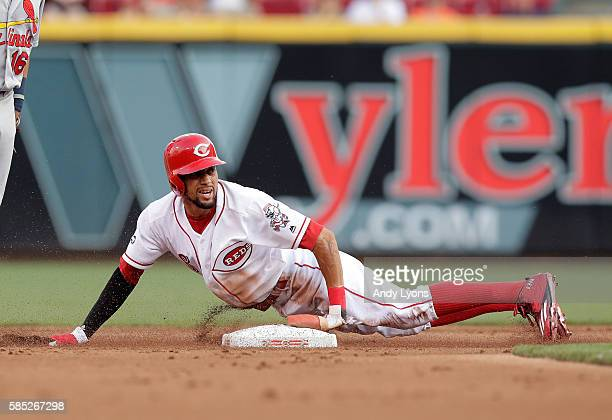 Billy Hamilton of the Cincinnati Reds steals a base in the first inning against the St Louis Cardinals at Great American Ball Park on August 2 2016...