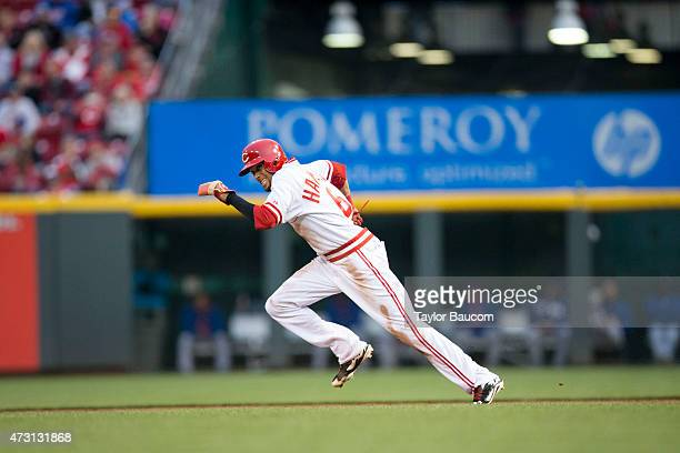 Billy Hamilton of the Cincinnati Reds steals second base during the game against the Chicago Cubs at Great American Ball Park on Friday April 24 2015...