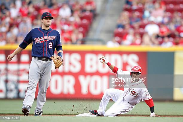 Billy Hamilton of the Cincinnati Reds steals second base in the second inning against the Minnesota Twins at Great American Ball Park on June 29 2015...