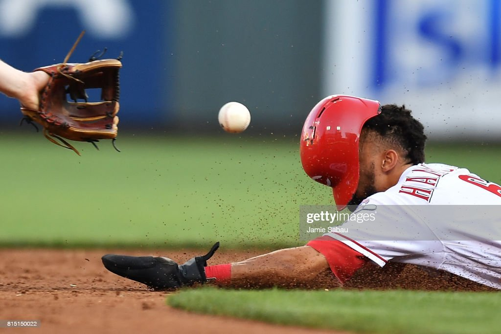 Billy Hamilton #6 of the Cincinnati Reds steals second base in the second inning against the Washington Nationals at Great American Ball Park on July 15, 2017 in Cincinnati, Ohio.
