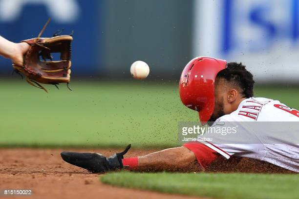 Billy Hamilton of the Cincinnati Reds steals second base in the second inning against the Washington Nationals at Great American Ball Park on July 15...