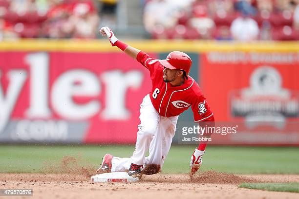 Billy Hamilton of the Cincinnati Reds steals second base in the sixth inning against the Milwaukee Brewers at Great American Ball Park on July 5 2015...