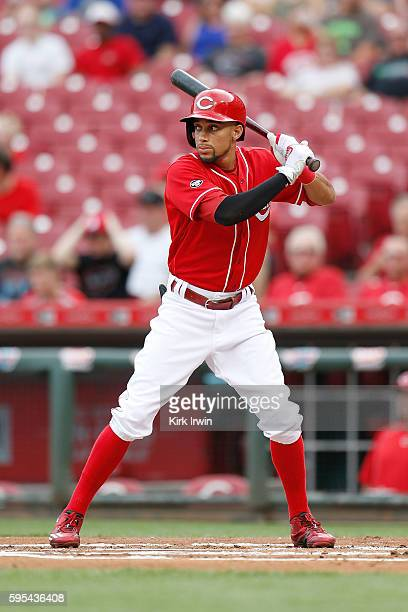 Billy Hamilton of the Cincinnati Reds takes an at bat during the game against the Miami Marlins at Great American Ball Park on August 18 2016 in...