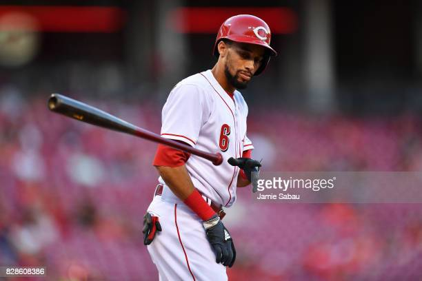 Billy Hamilton of the Cincinnati Reds tosses his bat after striking out to end the second inning against the San Diego Padres at Great American Ball...