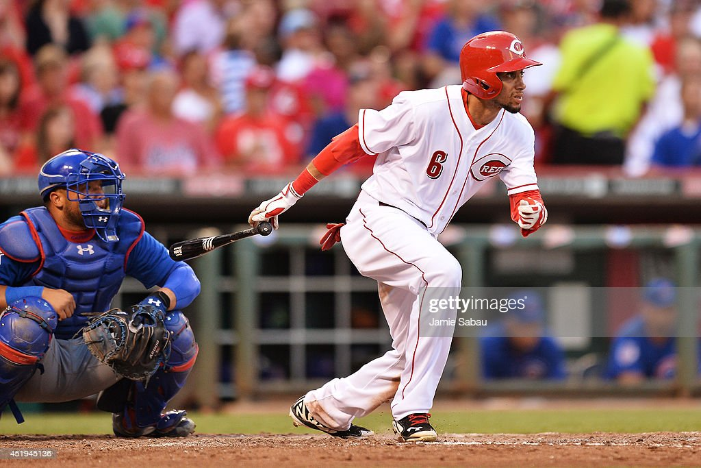 Billy Hamilton #6 of the Cincinnati Reds triples in the fifth inning to drive in a run against the Chicago Cubs at Great American Ball Park on July 9, 2014 in Cincinnati, Ohio. Cincinnati defeated Chicago 4-1.
