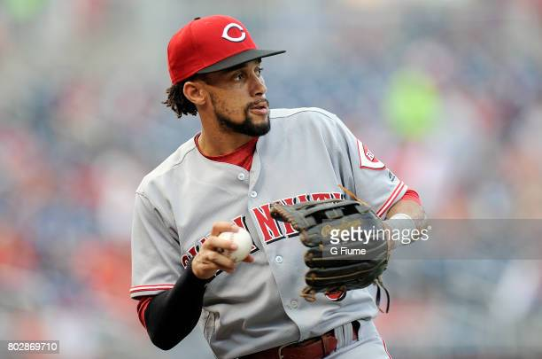 Billy Hamilton of the Cincinnati Reds warms up before the game against the Washington Nationals at Nationals Park on June 23 2017 in Washington DC