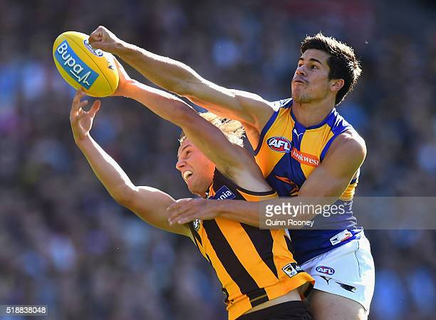 Billy Hartung of the Hawks marks infront of Liam Duggan of the Eagles during the round two AFL match between the Hawthorn Hawks and the West Coast...