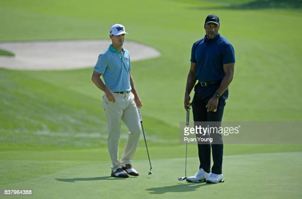 Billy Horschel and Michael Strahan talk during a proam at THE NORTHERN TRUST at Glen Oaks Club on August 23 in Old Westbury New York