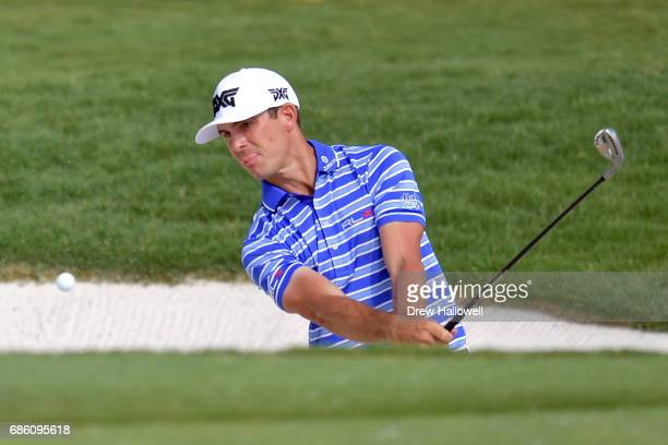 Billy Horschel chips in for birdie on the 17th hole during Round Three of the ATT Byron Nelson at the TPC Four Seasons Resort Las Colinas on May 20...