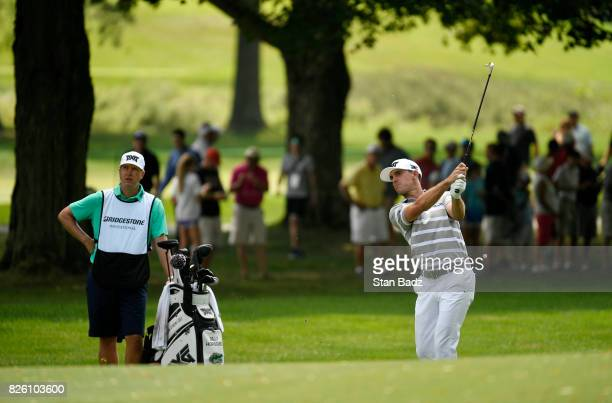 Billy Horschel hits a shot during the first round of the World Golf ChampionshipsBridgestone Invitational at Firestone Country Club on August 3 in...