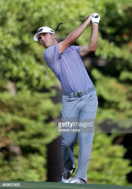 Billy Horschel hits a shot on the 14th hole during the first round of the Wyndham Championship at Sedgefield Country Club on August 17 2017 in...