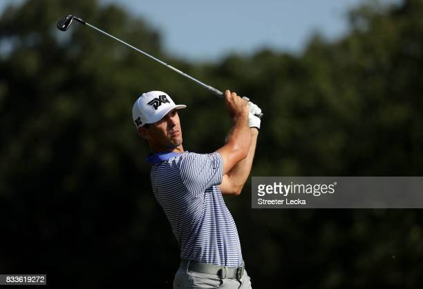 Billy Horschel hits a tee shot on the 16th hole during the first round of the Wyndham Championship at Sedgefield Country Club on August 17 2017 in...
