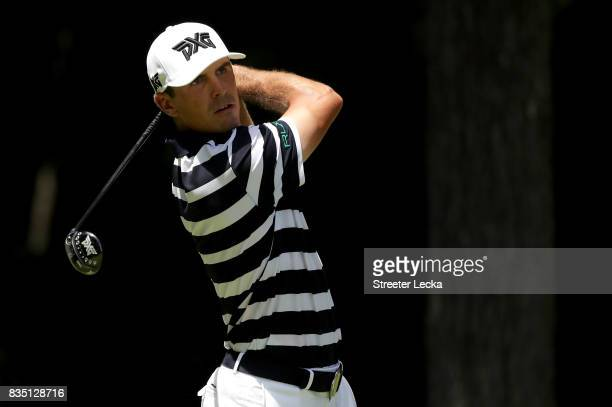 Billy Horschel hits a tee shot on the second hole during the second round of the Wyndham Championship at Sedgefield Country Club on August 18 2017 in...