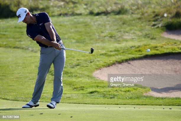 Billy Horschel hits his approach shot on the 18th hole during the first round of the BMW Championship at Conway Farms Golf Club on September 14 2017...